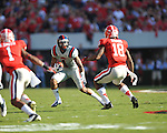 Ole Miss' Randall Mackey (1) vs. Georgia at Sanford Stadium in Athens, Ga. on Saturday, November 3, 2012.