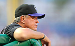 16 August 2008: Colorado Rockies' Manager Clint Hurdle watches play from the dugout during a game against the Washington Nationals at Nationals Park in Washington, DC.  The Rockies defeated the Nationals 13-6, handing the last place Nationals their 9th consecutive loss. ..Mandatory Photo Credit: Ed Wolfstein Photo