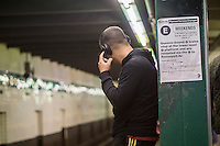 A music listener wears his over the ear, wireless, bluetooth connected headphones on a subway platform in New York on Sunday, October 16, 2016. (© Richard B. Levine)