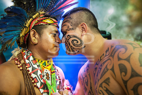 Maori delegate Earl greets a Pataxo delegate in the traditional Maori way at the International Indigenous Games in Brazil. 27th October 2015