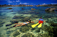 Children, age 8, explore the tidal pools of Shark's Cove (or Pupukea Beach) looking for colorful reef fishes. Located on the north shore of Oahu.