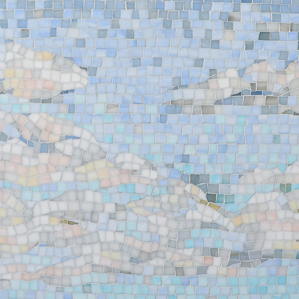 Clouds, a handmade mosaic shown in Absolute White, Moonstone, Opal, Pearl, Amazonite, Covelite, Quartz, Chalcedony, Champagne, Alabaster, and Aquamarine Sea Glass&trade;, is part of the Sea Glass&trade; Collection by Sara Baldwin for New Ravenna. <br /> Ready to take the next step? For pricing, samples and design help, please click here : http://www.newravenna.com/showrooms/