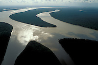 Aerial of islands in Amazon estuary near Marajó Island, Pará, Brazil, in late afternoon.