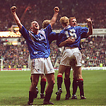 Ian Ferguson leads the chorus as Rangers celebrate Erik Bo Andersen's late double strike to seal the Old Fiirm victory over rivals Celtic in the new years fixture at Ibrox in 1996