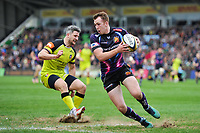 Max Bodilly of Exeter Chiefs in possession. Anglo-Welsh Cup Final, between Exeter Chiefs and Leicester Tigers on March 19, 2017 at the Twickenham Stoop in London, England. Photo by: Patrick Khachfe / JMP