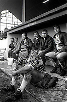 Pix:Michael Steele/SWpix...Fartown. Rugby League. From the book 'When Push Comes to Shove'....COPYRIGHT PICTURE>>SIMON WILKINSON..Huddersfield bench.