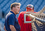 22 August 2015: Washington Nationals and MASN Broadcaster Bob Carpenter chats with bench coach Randy Knorr prior to a game against the Milwaukee Brewers at Nationals Park in Washington, DC. The Nationals defeated the Brewers 6-1 in the second game of their 3-game weekend series. Mandatory Credit: Ed Wolfstein Photo *** RAW (NEF) Image File Available ***