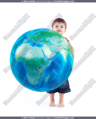 Little boy holding world blue planet Earth globe in his hands, conceptual photo isolated on white background.