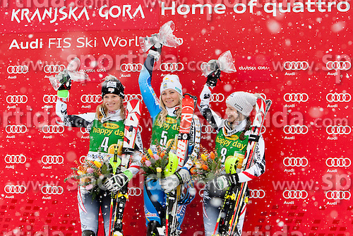 SCHILDMarlies of Austria, HANSDOTTERFrida of Sweden and SCHILDBernadette of Austria during flover ceremony of 50th Golden Fox Audi Alpine FIS Ski World Cup Ladies Slalom, on February 2, 2014 in Podkoren, Kranjska Gora, Slovenia. (Photo By Urban Urbanc / Sportida.com)