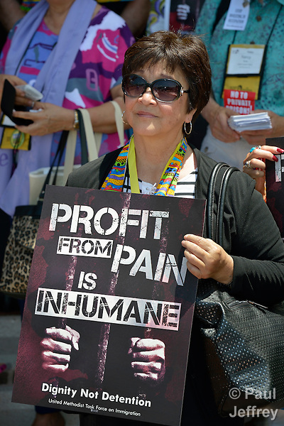 United Methodist Women from around the world participate in an April 28 rally against private prisons held at the 2012 United Methodist General Conference in Tampa, Florida. The rally was sponsored by United Methodist Women and the United Methodist Task Force on Immigration.