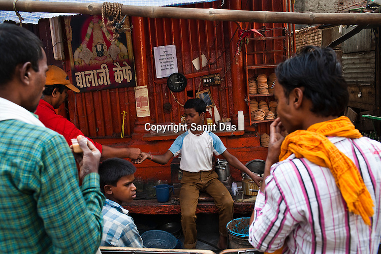 A chai (tea) shop in the ancient city of Varanasi in Uttar Pradesh, India. Photograph: Sanjit Das/Panos