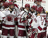 Devin Tringale (Harvard - 22), Michael Floodstrand (Harvard - 44), Alexander Kerfoot (Harvard - 14), Wiley Sherman (Harvard - 25), Clay Anderson (Harvard - 5) - The Harvard University Crimson defeated the Yale University Bulldogs 6-4 in the opening game of their ECAC quarterfinal series on Friday, March 10, 2017, at Bright-Landry Hockey Center in Boston, Massachusetts.