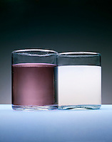 SOLUTION AND SUSPENSION COMPARISON<br /> Chalk In Water Is Cloudy, Solution Is Transparent.(pale solution)
