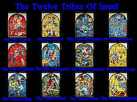 Collage The Twelve Tribes of Israel depicted in stained glass By Marc Shagall (1887 - 1985). The Twelve Tribes are Reuben, Simeon, Levi, Judah, Issachar, Zebulun, Dan, Gad, Naphtali, Asher, Joseph, and Benjamin.