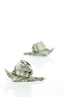 New York, NY, USA - November 4, 2011: Two origami snails each folded from one uncut US dollar by Esme Cribb. Jim Cowling is the designer of this model.