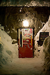 A customer leaves via the fridge door entrance of Gyu Bar in Hirafu, northern Japan on Feb. 6 2010. Niseko offers a variety of fine dining and other apres-ski options.