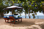 "Chaise lounges await in the privacy of the private beach area of beach-front guest ""villas"" at Siladen Resort and Spa, on Siladen Island, in the Bunaken National Park off North Sulawesi, Indonesia."