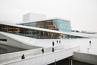 The Opera House in Oslo was design by Snøhetta. The Norwegian National Opera & Ballet har performances almost every day. The building was completed in 2008, and it have a lot of visitors.