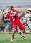 18 April 2015: University of Hartford Hawk Long Stick Midfielder Conor Daley, a Sophomore from Branford, CT, in action against the University of Vermont Catamounts at Virtue Field in Burlington, Vermont. The Cats defeated the Hawks 14-11 in the final home game of the 2015 season. Mandatory Credit: Ed Wolfstein Photo *** RAW (NEF) Image File Available ***