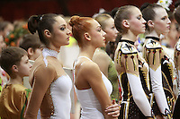 """(L-R)  Anna Bessonova and Natalya Godunko of Ukraine lineup during opening ceremony at 2008 World Cup Kiev, """"Deriugina Cup"""" in Kiev, Ukraine on March 22, 2008."""