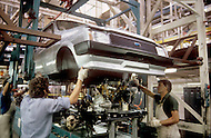 August 1981. Newcastle area, England. British Leyland, the assembly line of the Metro car model, is located in Ryton, near Coventry.