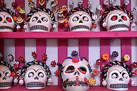 Day of the Dead skulls or calaveras from Oaxaca for sale in San Miguel de Allende, Mexico