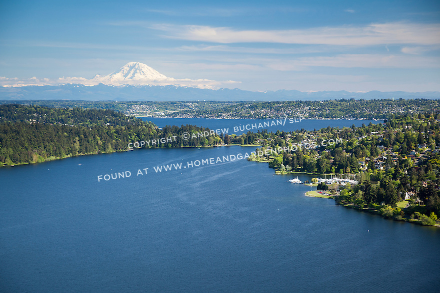 aerial photo of Lake Washington, Seattle's Seward Park, and Mount Rainier