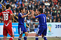 (L-R) Shinji Okazaki, Hiroshi Kiyotake (JPN), NOVEMBER 11, 2011 - Football / Soccer : Shinji Okazaki of Japan celebrates his 2nd goal during the 2014 FIFA World Cup Asian Qualifiers Third round Group C match between Tajikistan 0-4 Japan at Central Stadium in Dushanbe, Tajikistan. (Photo by Jinten Sawada/AFLO)