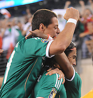 Mexico Javier Hernadez celebrates with  Aldo De Nigris (9)  his score.  Mexico defeated Guatemala 2-1 in the quaterfinals for the 2011 CONCACAF Gold Cup , at the New Meadowlands Stadium, Saturday June 18, 2011.