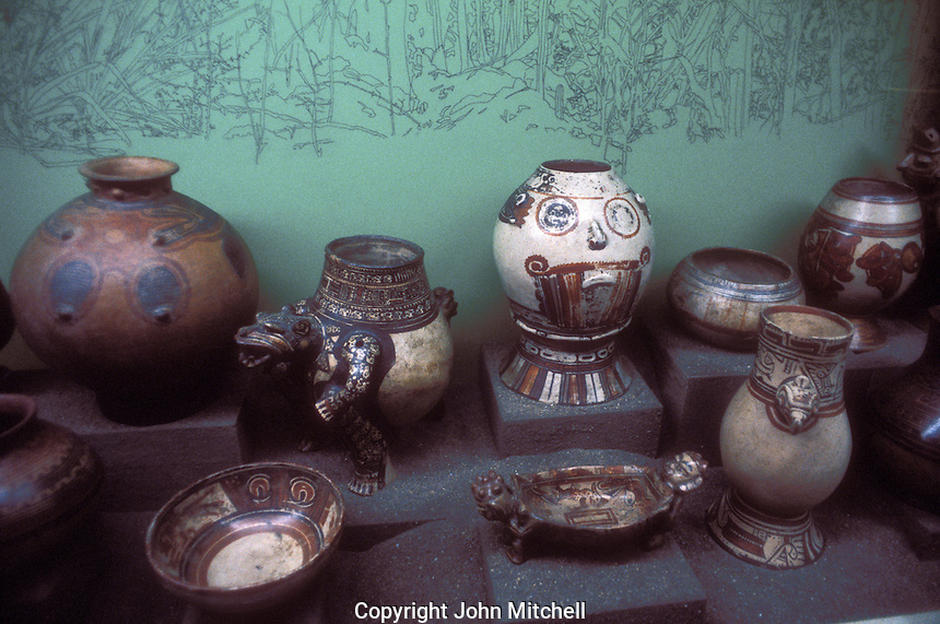 Pre-Columbian ceramics from Guanacaste region on display in the Museo Nacional de Costa Rica, San Jose, Costa Rica