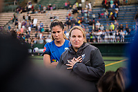 Seattle, WA - Sunday, May 21, 2017: Seattle Reign FC Laura Harvey during a regular season National Women's Soccer League (NWSL) match between the Seattle Reign FC and the Orlando Pride at Memorial Stadium.