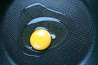 EGG FRYING: DENATURATION OF PROTEIN<br /> Exothermic Reaction - Energy Is Absorbed<br /> Egg white changes from clear to clouded &amp; finally to solid white as the egg heats up. Denaturation of protein occurs when external stress (in this case the cooking process) is applied. In the egg denaturation  occurs as a loss of solubility.
