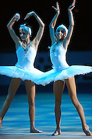 (L-R) Yana Lukonina and Daria Dmitrieva of Russia (juniors) perform rhythmic freehands and ballet gala exhibition with combined Russian group at 2008 European Championships at Torino, Italy on June 7, 2008.  Photo by Tom Theobald.