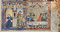 "Tamar laments her misfortune in Absalom's house while Absalom's servants kill Amnon at a feast held for David's sons. (2 Samuel 13 1-29). Excerpt of the first edition of the ""Crusader Bible"", 13th century manuscript kept in the Pierpont Morgan Library in New York, on natural parchment made of animal skin published by Scriptorium SL in Valencia, Spain. © Scriptorium / Manuel Cohen"