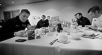 Paris-Roubaix 2012 ..Team Lotto-Belisol at breakfast
