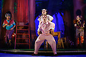 London, UK. 08.12.2015. Mischief Theatre Company presents PETER PAN GOES WRONG, at the Apollo Theatre. Co-written by Henry Lewis, Jonathan Sayer & Henry Shields, directed by Adam Meggido. Picture shows:  Henry Lewis (Nana the Dog), Dave Hearn (Michael Darling), Charlie Russell (Wendy Darling). Photograph © Jane Hobson.