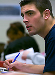 1/5/07 -- Omaha, NE<br />  -- USHL players Nick Petrecki takes notes in class at MIllard North High School. <br /> Photo by Chris Machian, Prairie Pixel Group