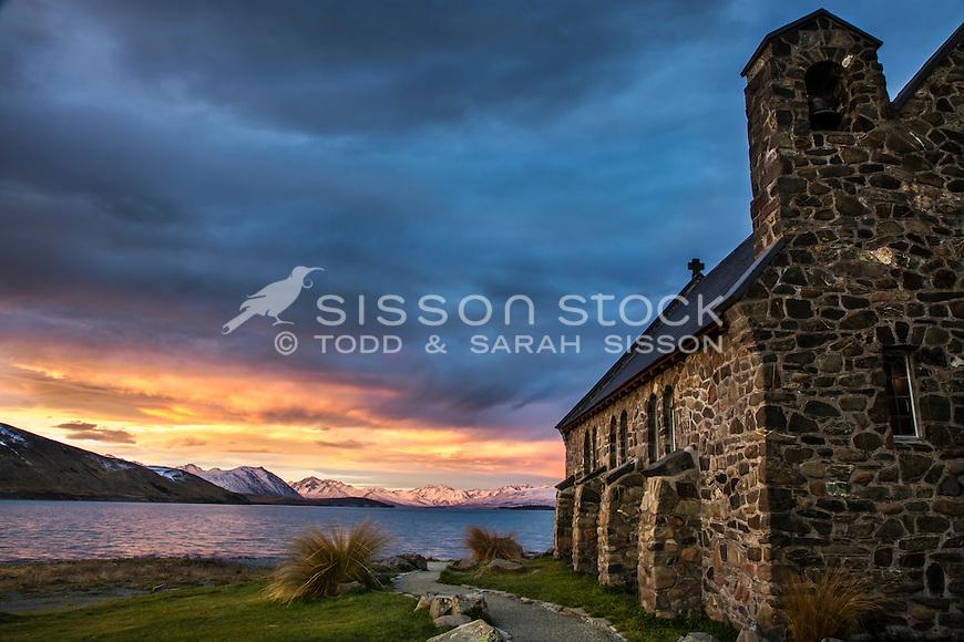 Spectacular sunset at the Church of The Good Shepherd, Lake Tekapo, South Canterbury New Zealand.