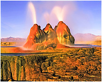 Fly Geyser, Black Rock Desert, Nevada , Travetine features from mineralized water