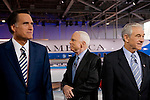 The GOP candidates Mitt Romney, John McCain, Ron Paul, arrive on stage before the GOP debate at the Ronald Reagan Presidential Library, Wednesday Jan. 30, 2008. This is the last debate before Super Tuesday.
