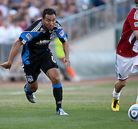 Arturo Alvarez chases down the ball. The San Jose Earthquakes defeated Chivas USA 6-5 in shootout after drawing 0-0 in regulation time to win the inagural Sacramento Cup at Raley Field in Sacramento, California on June 12, 2010.