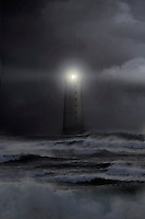 A lonely lighthouse in Iceland on a stormy night.