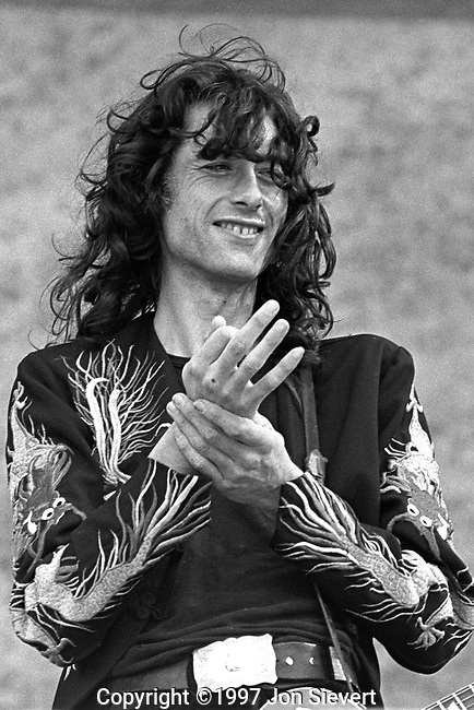 Jimmy Page, July 23, 1977, Day on the Green. English guitarist, songwriter, and record producer who began his career as a studio session guitarist in London and was subsequently a member of The Yardbirds from 1966 to 1968, after which he founded the English rock band Led Zeppelin.