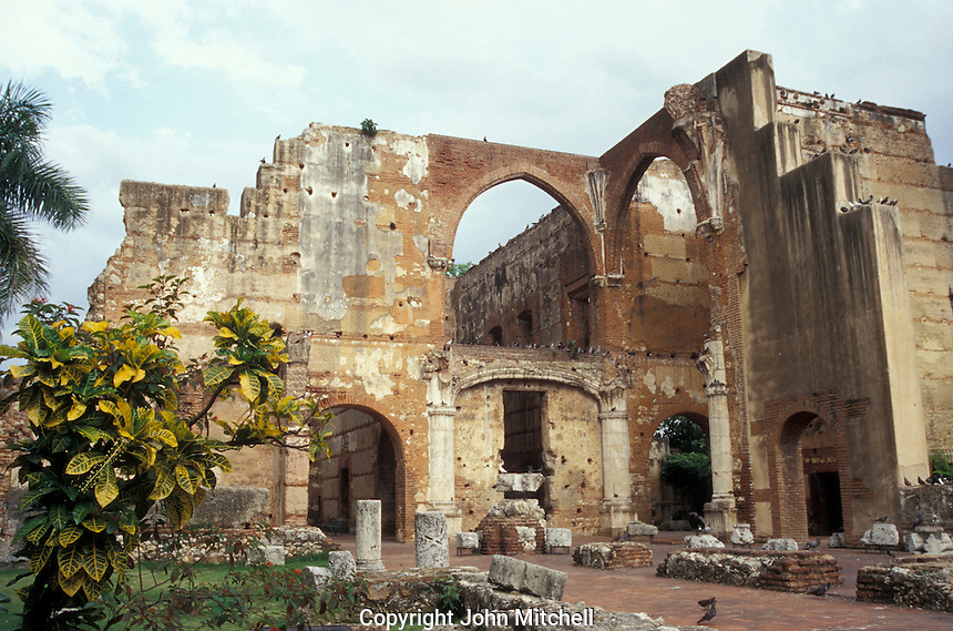 Ruins of the Hospital de San Nicolas de Bari in old Sanro Domingo, Dominican Republic. This is said to be thd oldest hospital in the Americas. Santo Domingo's Zona Colonial was declared a UNESCO World heritage Site in 1990.