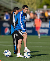 Earthquakes' assistant coach Ian Russell watches Quakes' players warming up during practice before the game against the Red Bulls at Buck Shaw Stadium in Santa Clara, California.  San Jose Earthquakes defeated New York Red Bulls, 4-0.