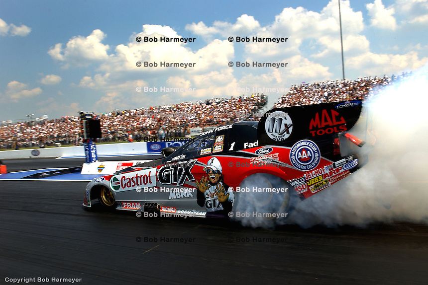 INDIANAPOLIS, IN - SEPTEMBER 6: John Force drives in the NHRA Mac Tools US Nationals on September 6, 2002, at Raceway Park near Indianapolis, Indiana.