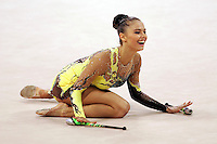 August 29, 2004; Athens, Greece; Rhythmic gymnastic star ALINA KABAEVA of Russia (here finishing clubs routine) won gold in All-Around competition at 2004 Athens Olympics.<br />
