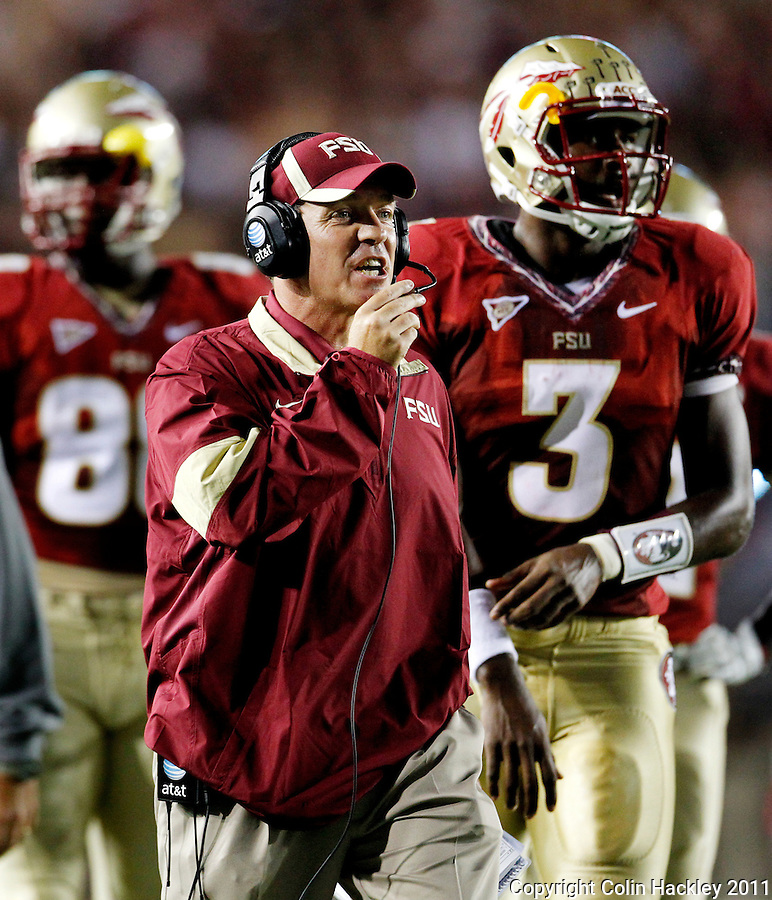 TALLAHASSEE, FL 9/17/11-FSU-OU091711 CH-Florida State Head Coach Jimbo Fisher reacts to the Oklahoma hit on Kenny Shaw during first half action Saturday at Doak Campbell Stadium in Tallahassee. .COLIN HACKLEY PHOTO