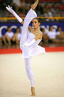 Romina Laurito of Italy turns pirouette balance during gala exhibition at 2006 Trofeo Cariprato in Prato, Italy on June 17, 2006.  Romina placed 4th in All-Around at this international tournament.  (Photo by Tom Theobald)