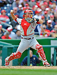 12 April 2012: Cincinnati Reds catcher Devin Mesoraco in action against the Washington Nationals at Nationals Park in Washington, DC. The Nationals defeated the Reds 3-2 in 10 innings to take the first game of their 4-game series. Mandatory Credit: Ed Wolfstein Photo